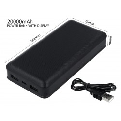 Portable Power Bank 20000mAh Colore Nero Batteria Litio Esterna Portatile Con 2 USB 5V 2,1A