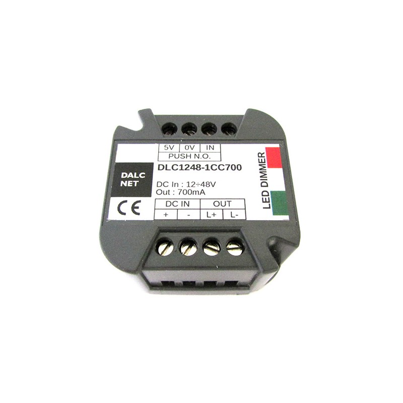 Dalcnet Easy Led Fader Dimmer Driver DC 12V-48V CC 700mA Dimmerabile Con Pulsante N.O. DLC1248-1CC700