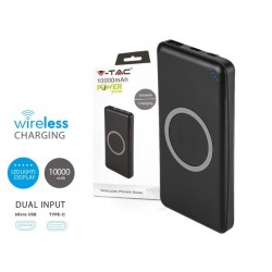 Portable Power Bank 10000 mAh Slim con Ricarica Wireless e USB Colore Nero SKU-8909