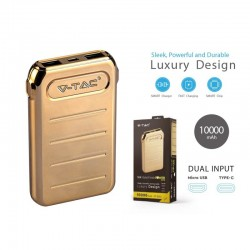 Portable Power Bank Gold 10000 Mah Dual USB Output e Input Micro USB e Tipo C SKU-8907
