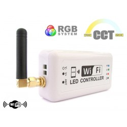 WiFi Mini Centralina Led CCT Dimmer RGB Controller Domotica Con Iphone iOS Smartphone Android 12V 24V 3X4A