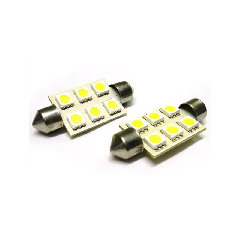 24V Lampada Led Siluro T11 C5W 41mm 6 Smd 5050 Bianco Camion