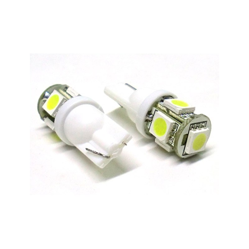 24V Lampada Led T10 W5W 5 Smd Bianco Luci Posizione Camion