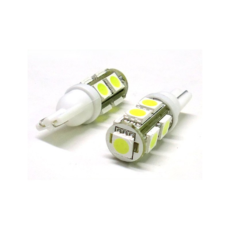 24V Lampada Led T10 W5W 9 Smd Bianco Luci Posizione Camion