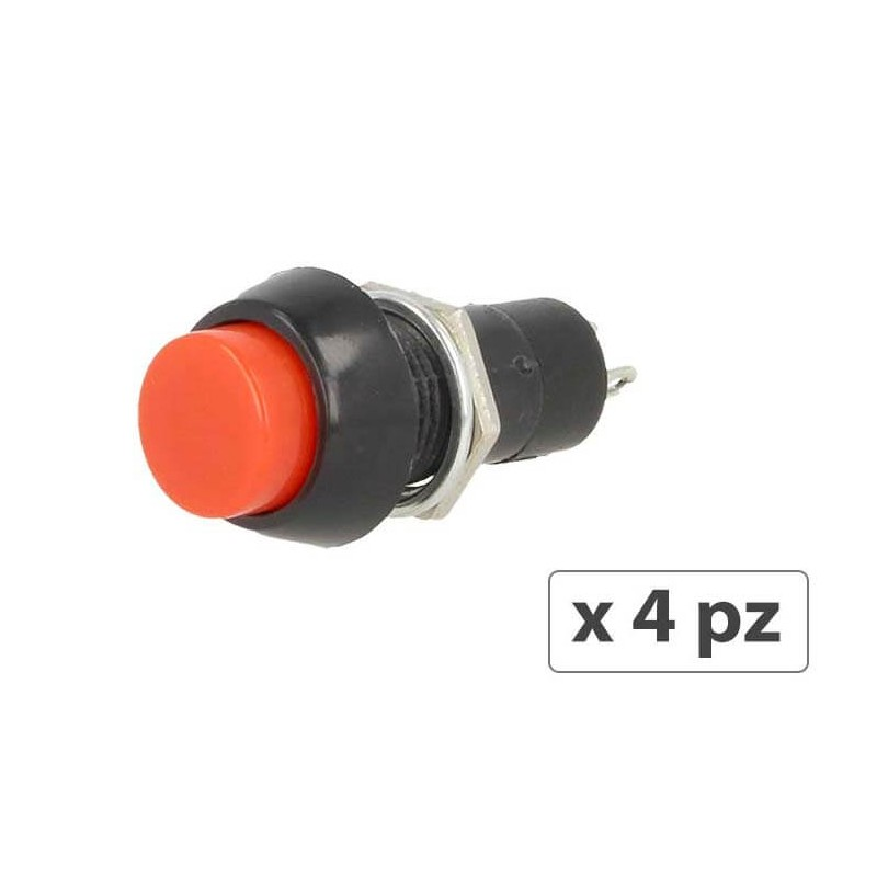 4 PZ Interruttore Pulsante Rotondo Momentaneo On Off 12V Push Button Switch 2 Pin Auto Barca Foro 12mm
