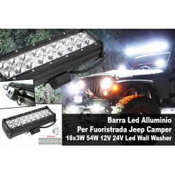 Barra Led Alluminio Per Fuoristrada Jeep Camper 18x3W 54W 12V 24V Led Wall Washer